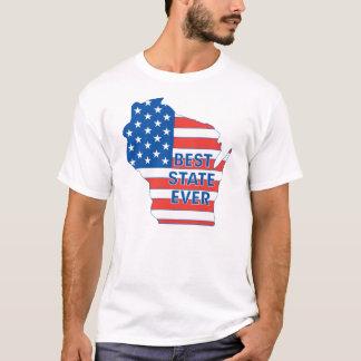 """Camiseta Estado patriótico de Wisconsin """"mejor nunca """""""