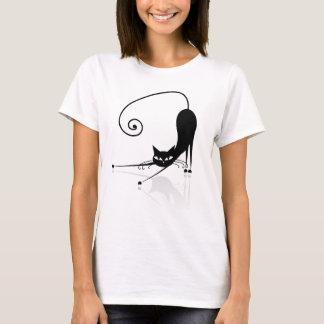 Camiseta estilizada negra del gato