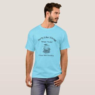 Camiseta Estragos y pillaje azules de la nave de vikingo