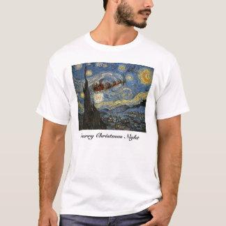Camiseta estrellada del arte de la noche de