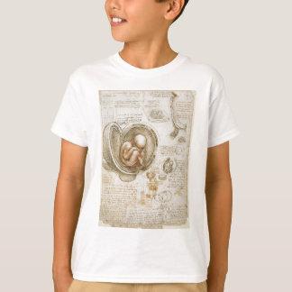 Camiseta Estudios de Leonardo da Vinci del feto en la