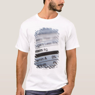 Camiseta Etiqueta de la nutrición de la comida
