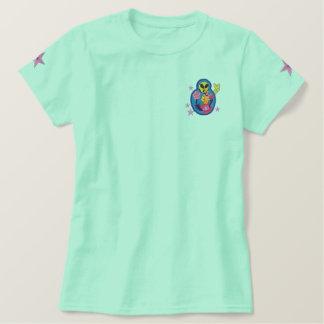 Camiseta extranjera del remiendo del bordado de polo bordado de mujer