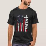 Camiseta Faith Christian Red White Blue Flag