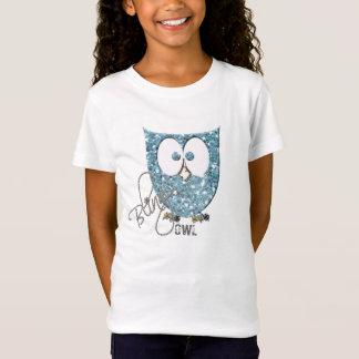 Camiseta Falso) búho azul de Bling del brillo (
