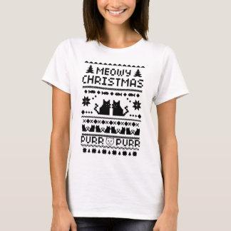 Camiseta fea del gato del navidad de Meowy de las