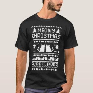 Camiseta fea del gato del navidad oscuro de Meowy