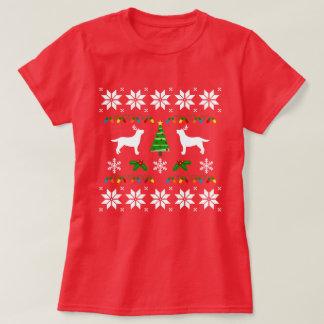Camiseta fea del navidad del esquema de la silueta