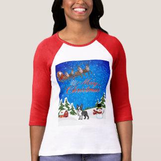 Camiseta Felices Navidad Boston Terrier