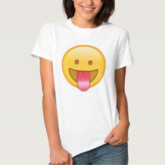 Camiseta feliz, divertida del emoji de la lengua