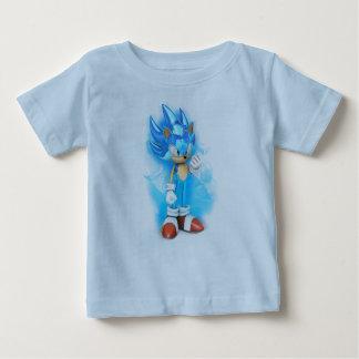 Camiseta fina del jersey del bebé azul clara
