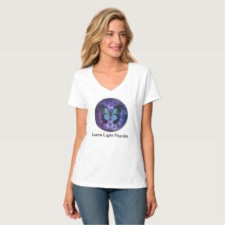 Camiseta Flor de la mariposa azul de la vida en la luz de