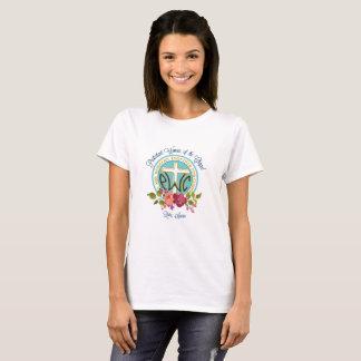 Camiseta floral del logotipo de PWOC
