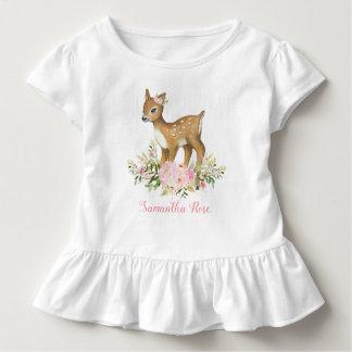 Camiseta floral rosada del niño del cumpleaños de