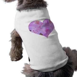 Camiseta floral rosada del perro del corazón camiseta sin mangas para perro