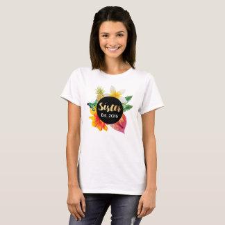 Camiseta Floral tropical de la hermana de la escritura del