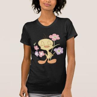 Camiseta Flores púrpuras rosadas de Tweety