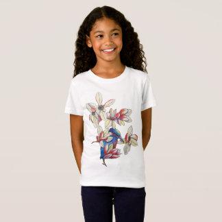 Camiseta flores y un pájaro