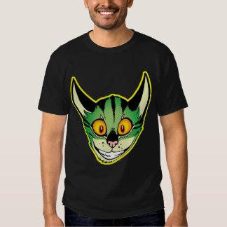 Camiseta fluorescente del gato del dibujo animado