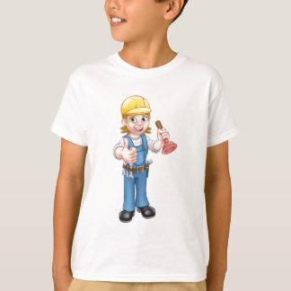 Camiseta Fontanero de sexo femenino del dibujo animado que