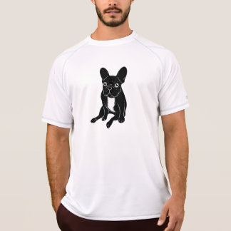 Camiseta Frenchie brindle lindo en arte digital negro y