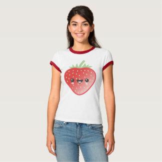 Camiseta Fresa y flores de Kawaii