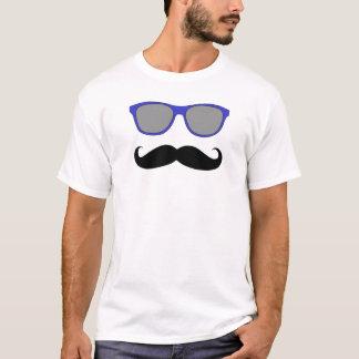 Camiseta Gafas de sol divertidas del azul del bigote