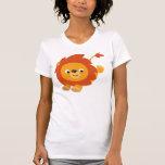 Camiseta gallarda linda de las mujeres del león