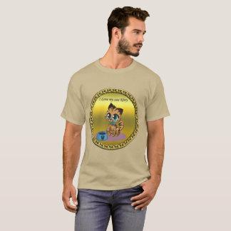 Camiseta Gatito lindo mullido juguetón del oro con los ojos