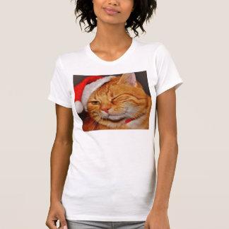 Camiseta Gato anaranjado - gato de Papá Noel - Felices