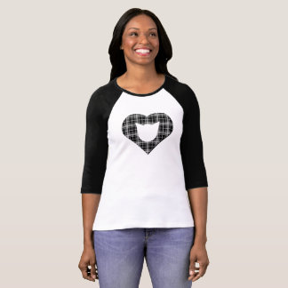 Camiseta Gato de la tela escocesa/camisa negros del corazón