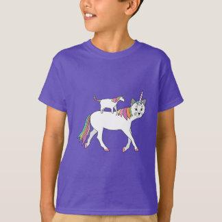 Camiseta Gato del unicornio del montar a caballo del