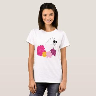 """Camiseta """"Gato del verano"""" con los sunglass y las flores"""