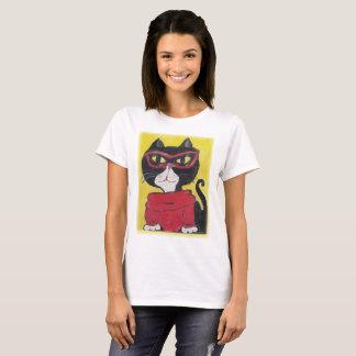 Camiseta Gato pintado inconformista del cuello alto