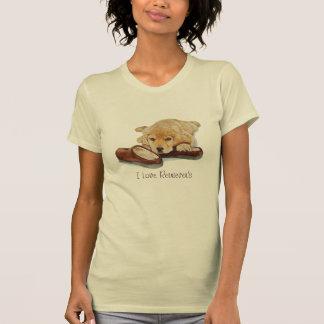 Camiseta golden retriever lindo del perrito que abraza arte
