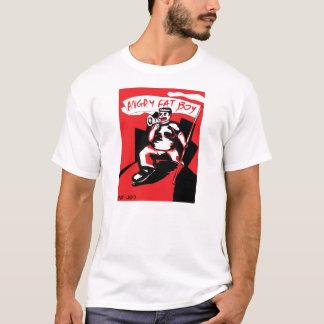 Camiseta gorda enojada del blanco del muchacho
