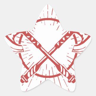 Camiseta gráfica cruzada del leñador de las hachas pegatina en forma de estrella