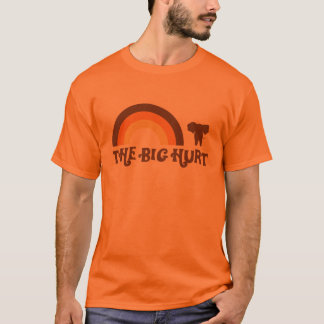 Camiseta grande anaranjada del arco iris del daño