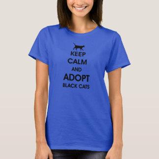 Camiseta guarde la calma y adopte los gatos negros