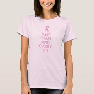 Camiseta Guarde la calma y continúe al cáncer de pecho