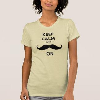 Camiseta Guarde la calma y el bigote encendido