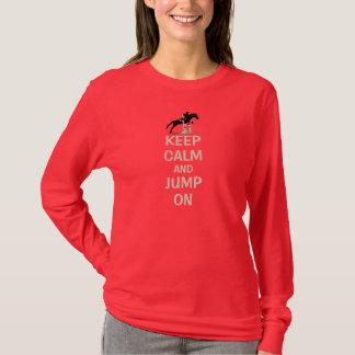 Camiseta Guarde la calma y salte en caballo