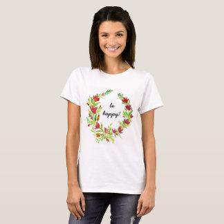 Camiseta Guirnalda pintada a mano de la flora con el texto