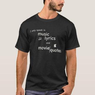 Camiseta Hablo en letras de la música y citas de la