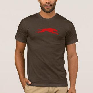 Camiseta hacia fuera streched rojo del galgo en marrón