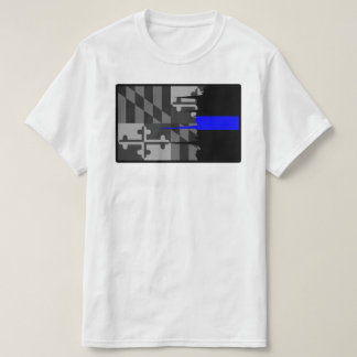 Camiseta hecha andrajos de Blue Line de la bandera