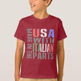 Camiseta Hecho en las piezas del italiano del ingenio de