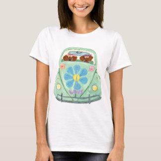 Camiseta Hippies del Dachshund en su móvil del amor de la