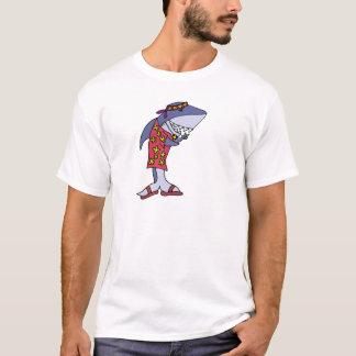 Camiseta Hippy divertido del tiburón en la playa