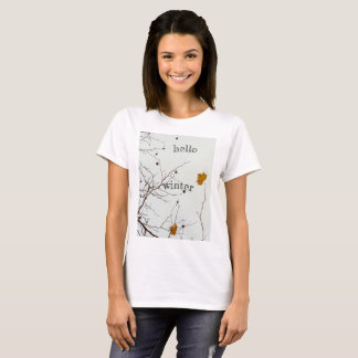 Camiseta Hola invierno rústico